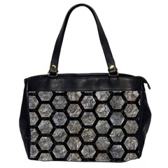 Hexagon2 Black Marble & Gray Stone (r) Office Handbags (2 Sides)  by trendistuff
