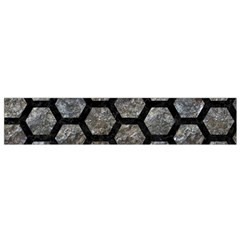 Hexagon2 Black Marble & Gray Stone (r) Flano Scarf (small) by trendistuff