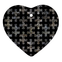 Puzzle1 Black Marble & Gray Stone Heart Ornament (two Sides) by trendistuff
