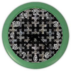 Puzzle1 Black Marble & Gray Stone Color Wall Clocks by trendistuff