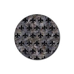 Royal1 Black Marble & Gray Stone Rubber Coaster (round)  by trendistuff