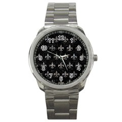 Royal1 Black Marble & Gray Stone (r) Sport Metal Watch by trendistuff