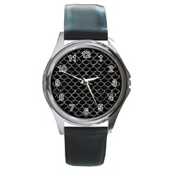 Scales1 Black Marble & Gray Stone Round Metal Watch by trendistuff