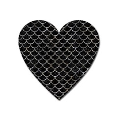 Scales1 Black Marble & Gray Stone Heart Magnet by trendistuff