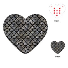 Scales1 Black Marble & Gray Stone (r) Playing Cards (heart)