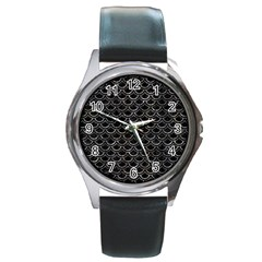 Scales2 Black Marble & Gray Stone Round Metal Watch by trendistuff