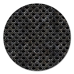 Scales2 Black Marble & Gray Stone Magnet 5  (round) by trendistuff