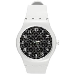 Scales2 Black Marble & Gray Stone Round Plastic Sport Watch (m) by trendistuff