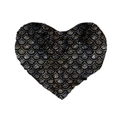Scales2 Black Marble & Gray Stone (r) Standard 16  Premium Heart Shape Cushions by trendistuff