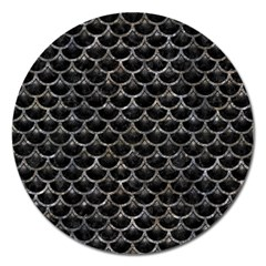 Scales3 Black Marble & Gray Stone Magnet 5  (round) by trendistuff