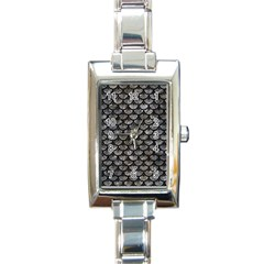 Scales3 Black Marble & Gray Stone (r) Rectangle Italian Charm Watch by trendistuff