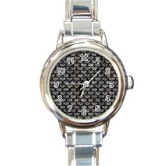 Scales3 Black Marble & Gray Stone (r) Round Italian Charm Watch by trendistuff