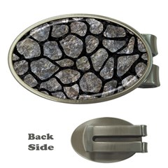 Skin1 Black Marble & Gray Stone Money Clips (oval)  by trendistuff