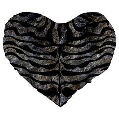 Skin2 Black Marble & Gray Stone (r) Large 19  Premium Flano Heart Shape Cushions by trendistuff