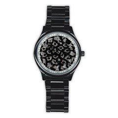 Skin5 Black Marble & Gray Stone (r) Stainless Steel Round Watch