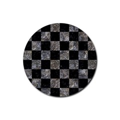 Square1 Black Marble & Gray Stone Rubber Coaster (round)  by trendistuff