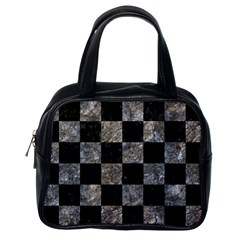 Square1 Black Marble & Gray Stone Classic Handbags (one Side)