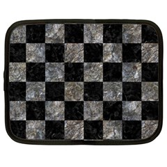 Square1 Black Marble & Gray Stone Netbook Case (xl)  by trendistuff