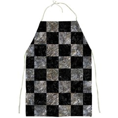 Square1 Black Marble & Gray Stone Full Print Aprons by trendistuff