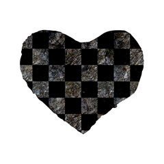 Square1 Black Marble & Gray Stone Standard 16  Premium Heart Shape Cushions by trendistuff