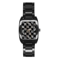 Square1 Black Marble & Gray Stone Stainless Steel Barrel Watch