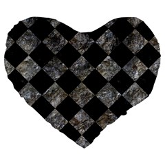 Square2 Black Marble & Gray Stone Large 19  Premium Heart Shape Cushions by trendistuff