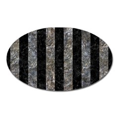 Stripes1 Black Marble & Gray Stone Oval Magnet by trendistuff