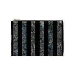 Stripes1 Black Marble & Gray Stone Cosmetic Bag (medium)  by trendistuff
