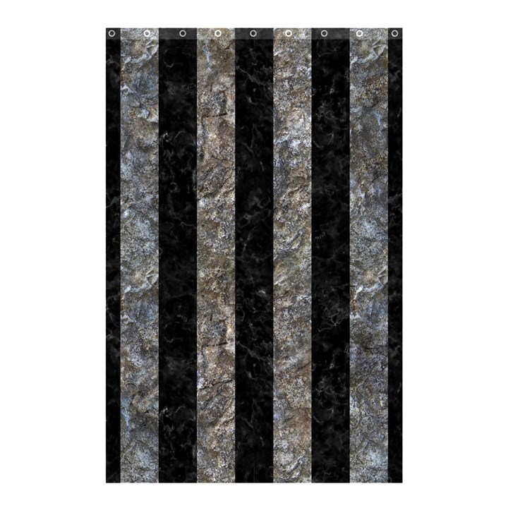STRIPES1 BLACK MARBLE & GRAY STONE Shower Curtain 48  x 72  (Small)
