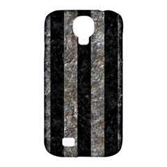 Stripes1 Black Marble & Gray Stone Samsung Galaxy S4 Classic Hardshell Case (pc+silicone)