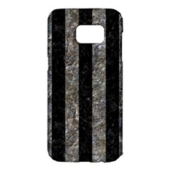 Stripes1 Black Marble & Gray Stone Samsung Galaxy S7 Edge Hardshell Case by trendistuff