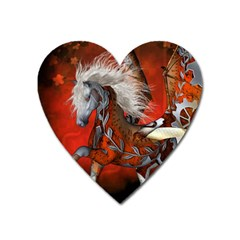Awesome Steampunk Horse With Wings Heart Magnet by FantasyWorld7