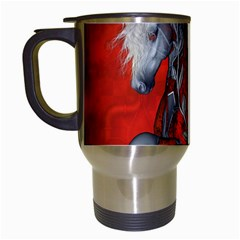Awesome Steampunk Horse With Wings Travel Mugs (white) by FantasyWorld7