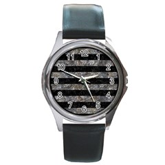 Stripes2 Black Marble & Gray Stone Round Metal Watch by trendistuff