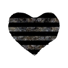 Stripes2 Black Marble & Gray Stone Standard 16  Premium Heart Shape Cushions by trendistuff