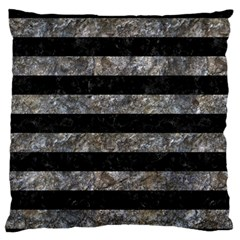 Stripes2 Black Marble & Gray Stone Large Flano Cushion Case (one Side) by trendistuff