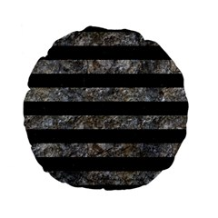 Stripes2 Black Marble & Gray Stone Standard 15  Premium Flano Round Cushions by trendistuff