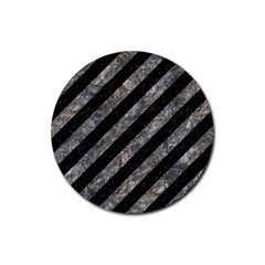Stripes3 Black Marble & Gray Stone Rubber Coaster (round)  by trendistuff