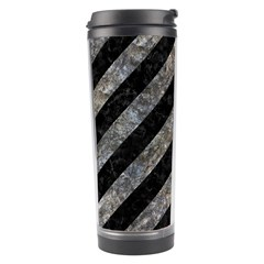 Stripes3 Black Marble & Gray Stone Travel Tumbler by trendistuff
