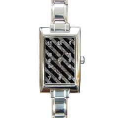 Stripes3 Black Marble & Gray Stone (r) Rectangle Italian Charm Watch by trendistuff