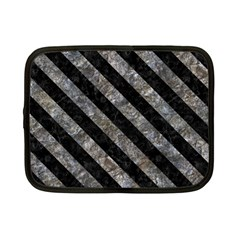 Stripes3 Black Marble & Gray Stone (r) Netbook Case (small)  by trendistuff