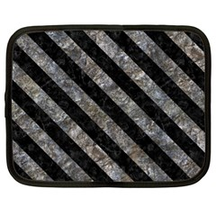 Stripes3 Black Marble & Gray Stone (r) Netbook Case (xl)  by trendistuff