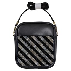 Stripes3 Black Marble & Gray Stone (r) Girls Sling Bags by trendistuff