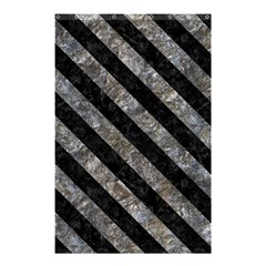Stripes3 Black Marble & Gray Stone (r) Shower Curtain 48  X 72  (small)  by trendistuff