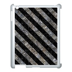 Stripes3 Black Marble & Gray Stone (r) Apple Ipad 3/4 Case (white) by trendistuff