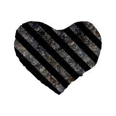 Stripes3 Black Marble & Gray Stone (r) Standard 16  Premium Heart Shape Cushions by trendistuff