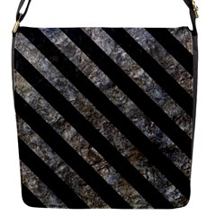 Stripes3 Black Marble & Gray Stone (r) Flap Messenger Bag (s) by trendistuff