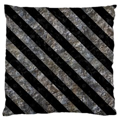 Stripes3 Black Marble & Gray Stone (r) Standard Flano Cushion Case (two Sides) by trendistuff
