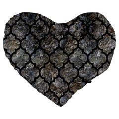 Tile1 Black Marble & Gray Stone (r) Large 19  Premium Heart Shape Cushions by trendistuff
