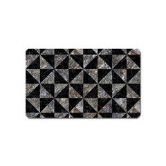 Triangle1 Black Marble & Gray Stone Magnet (name Card) by trendistuff